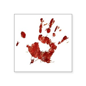 Bloody Handprint Right Square Sticker 3