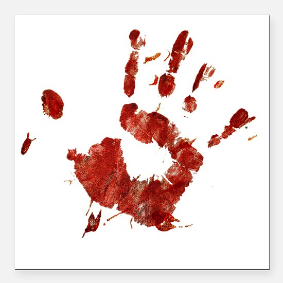 "Bloody Handprint Right Square Car Magnet 3"" x 3"""