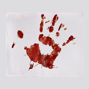 Bloody Handprint Right Throw Blanket