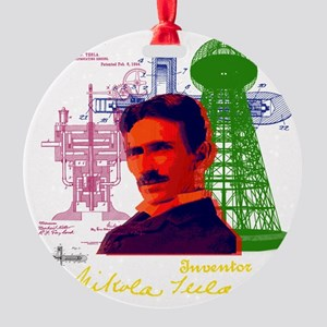 tesla Round Ornament