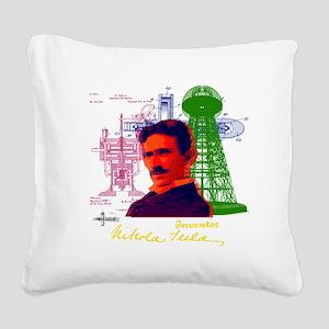 tesla Square Canvas Pillow