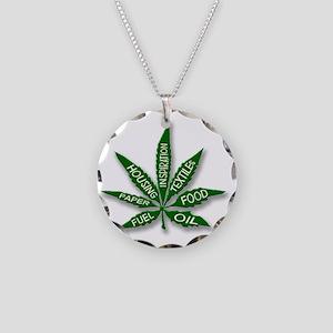 hemp-leaf-uses Necklace Circle Charm