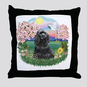 Blossoms-BlackCocker Throw Pillow