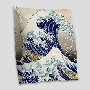 Hokusai_Great_WaveShowerCurtai Burlap Throw Pillow