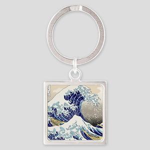 Hokusai_Great_WaveShowerCurtain2 Square Keychain