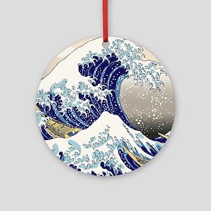 Hokusai_Great_WaveShowerCurtain2 Round Ornament
