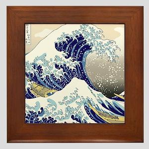 Hokusai_Great_WaveShowerCurtain2 Framed Tile