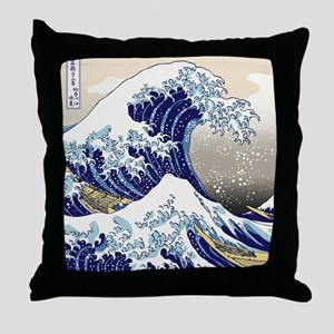 Hokusai_Great_WaveShowerCurtain2 Throw Pillow