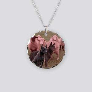 australian kelpie two Necklace Circle Charm