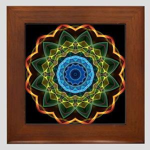 Sky and Leaves Kaleidoscope Framed Tile