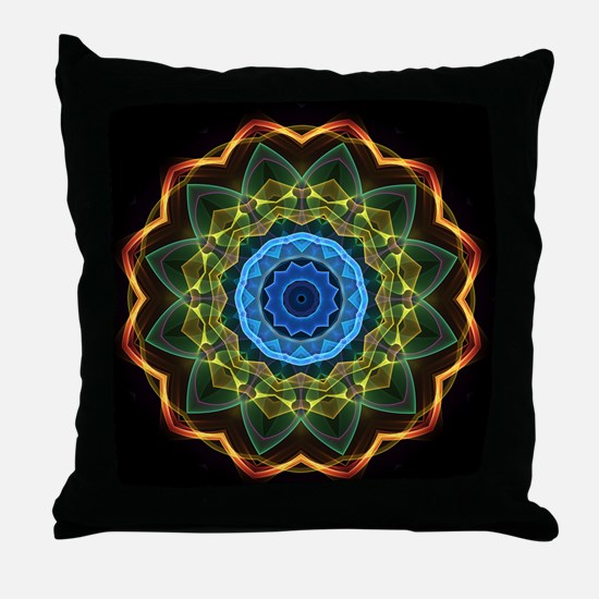 Sky and Leaves Kaleidoscope Throw Pillow