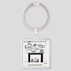 3386_fishing_cartoon Square Keychain