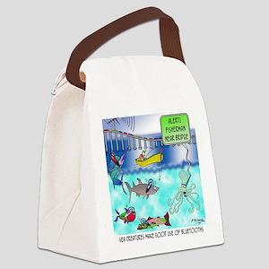 8351_texting_cartoon Canvas Lunch Bag