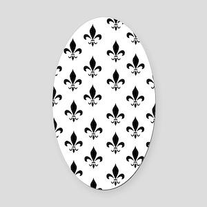 Black Fleur de Lis Oval Car Magnet