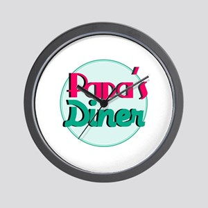 Papas Diner Wall Clock