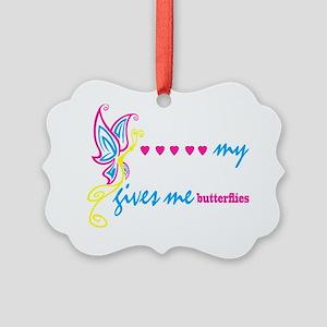 butterflies BLK Picture Ornament