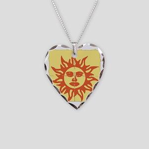 Orange Sunshine Tab Necklace Heart Charm