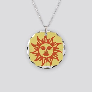 Orange Sunshine Tab Necklace Circle Charm