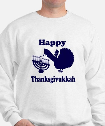 Happy Thanksukkah 3 navy Sweatshirt