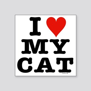 "HeartMyCatTrans14x14-a Square Sticker 3"" x 3"""