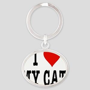 HeartCatMouseOrig Oval Keychain