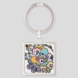 Jolie Flower Square Keychain