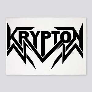 Krypton logo version 3 black 5'x7'Area Rug