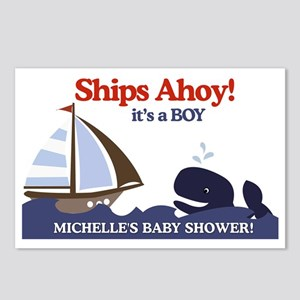 Ships Ahoy Whale Baby Sho Postcards (Package of 8)