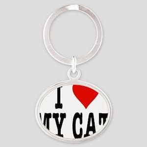 HeartCatNoteCard4.5x5.75 Oval Keychain