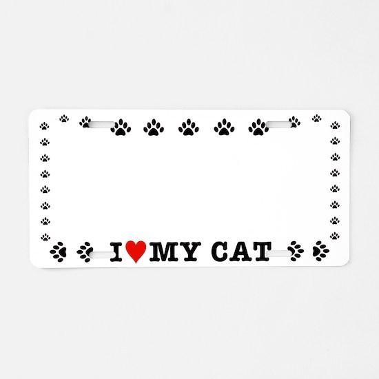 HeartCatLicPlHolder-e Aluminum License Plate