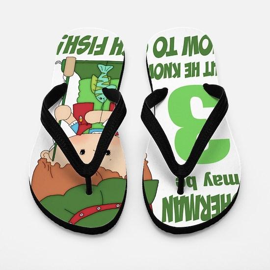 three year old fisherman Flip Flops
