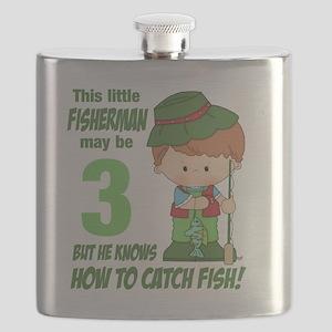 three year old fisherman Flask