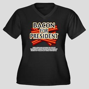 vcb-bacon-fo Women's Plus Size Dark V-Neck T-Shirt