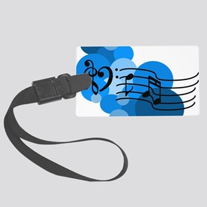Blue Music Clefs Heart Large Luggage Tag