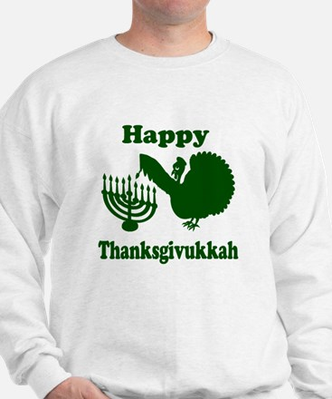Happy Thanksukkah 3 green Sweatshirt