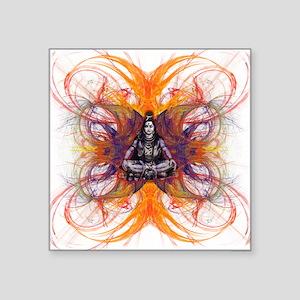 "shiva on fractal-borsa fron Square Sticker 3"" x 3"""