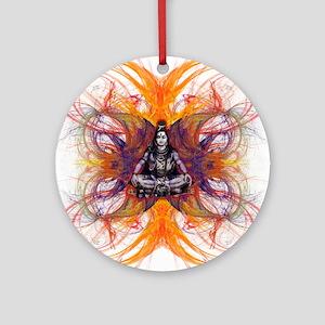 shiva on fractal-borsa front Round Ornament