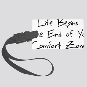 life begins - black Large Luggage Tag