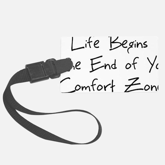 life begins - black Large Luggage Tag