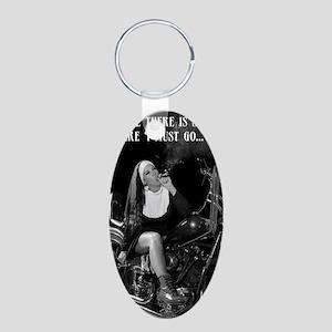sin Aluminum Oval Keychain