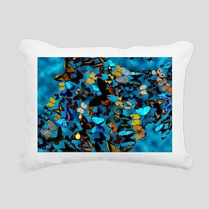 Butterflies Blue Rectangular Canvas Pillow