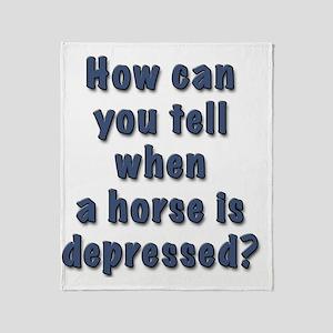 depressed horse Throw Blanket