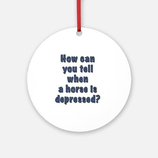 depressed horse Round Ornament