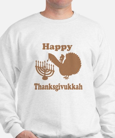 Happy Thanksukkah 3 brown Sweatshirt