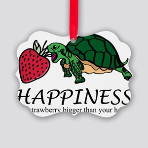 Happiness is (turtle/strawberry) Picture Ornament