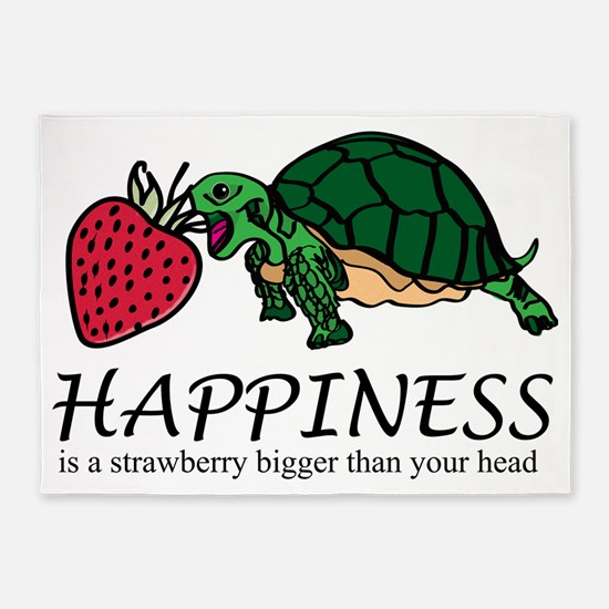 Happiness is (turtle/strawberry) 5'x7'Area Rug