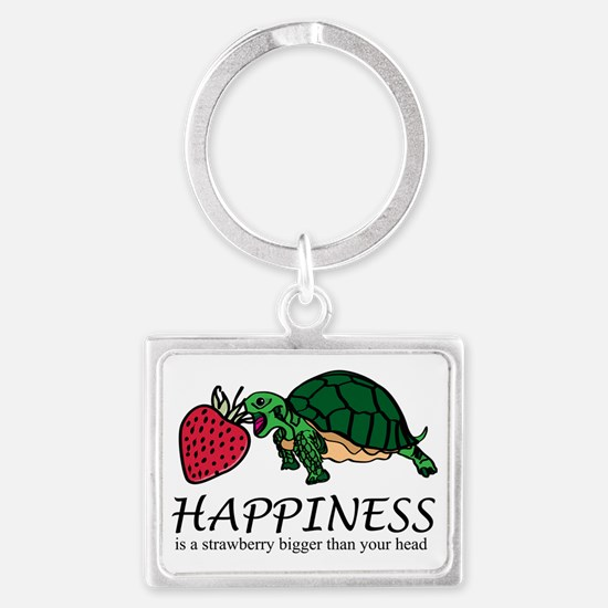 Happiness is (turtle/strawberry Landscape Keychain