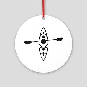 kayak blk Round Ornament