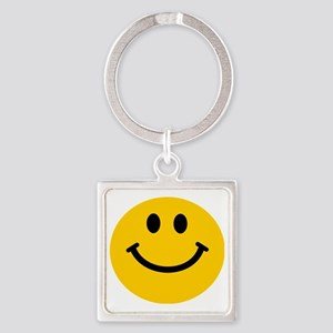 Yellow Smiley Face Square Keychain