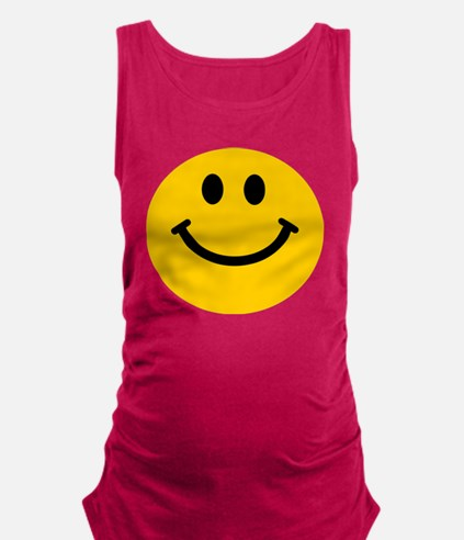 Yellow Smiley Face Maternity Tank Top